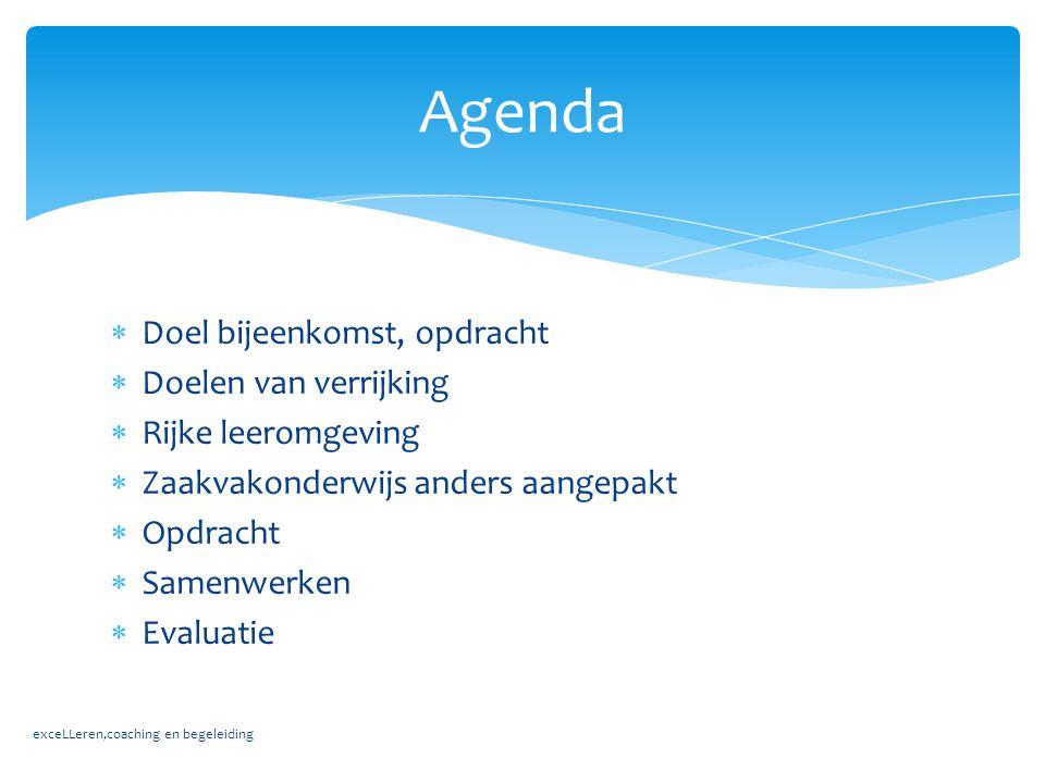 Agenda Doel bijeenkomst, opdracht Doelen van verrijking