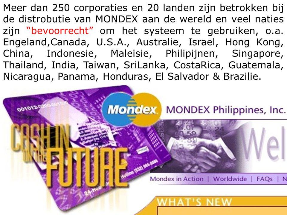 Meer dan 250 corporaties en 20 landen zijn betrokken bij de distrobutie van MONDEX aan de wereld en veel naties zijn bevoorrecht om het systeem te gebruiken, o.a.