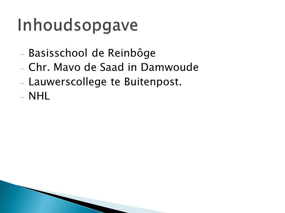 Inhoudsopgave Basisschool de Reinbôge Chr. Mavo de Saad in Damwoude