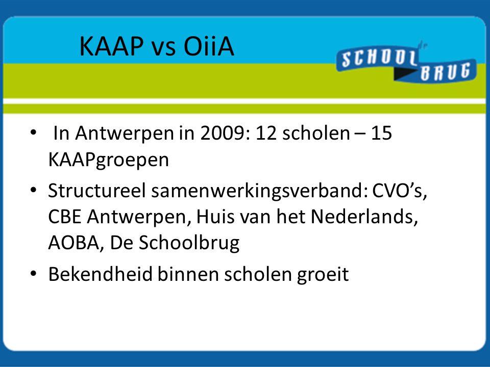 KAAP vs OiiA In Antwerpen in 2009: 12 scholen – 15 KAAPgroepen
