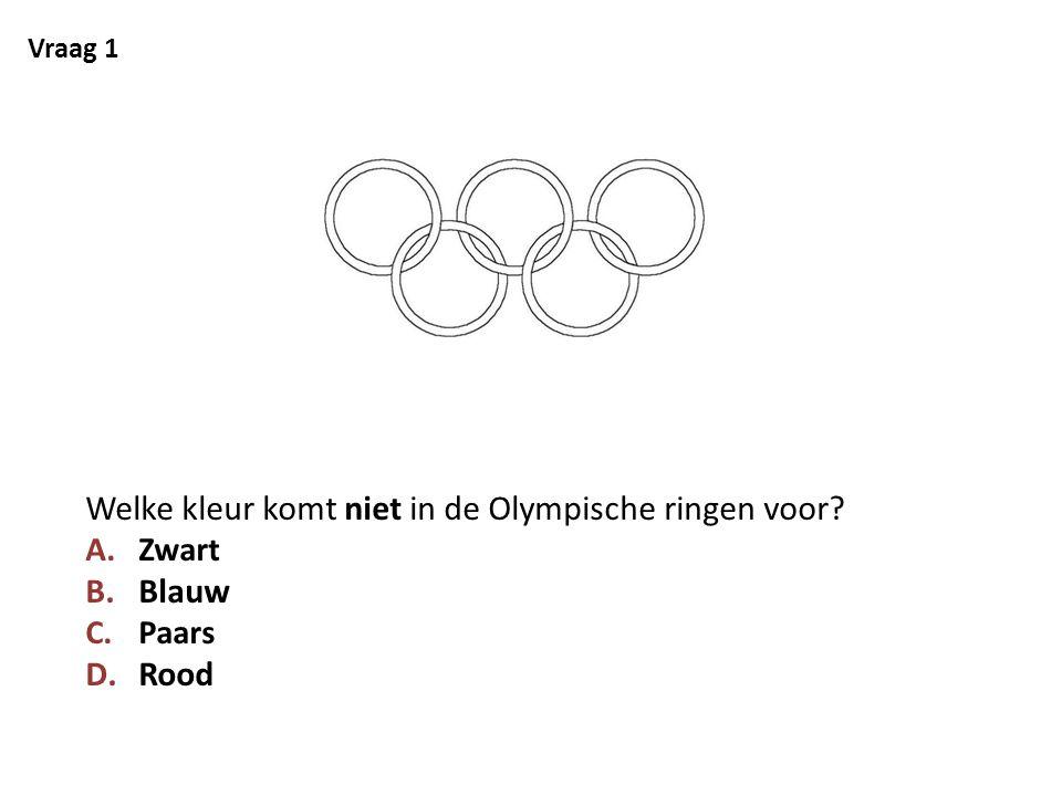 Welke kleur komt niet in de Olympische ringen voor Blauw Rood
