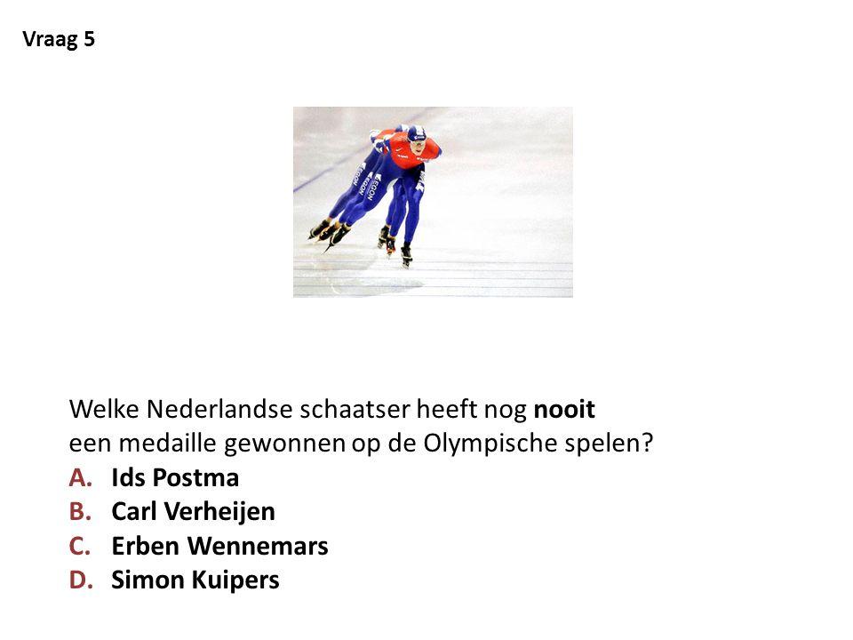 Vraag 5 Welke Nederlandse schaatser heeft nog nooit een medaille gewonnen op de Olympische spelen