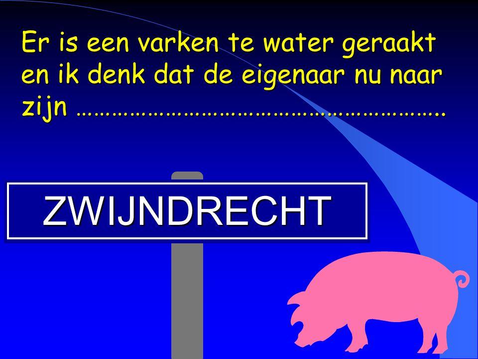 Er is een varken te water geraakt en ik denk dat de eigenaar nu naar zijn ……………………………………………………..