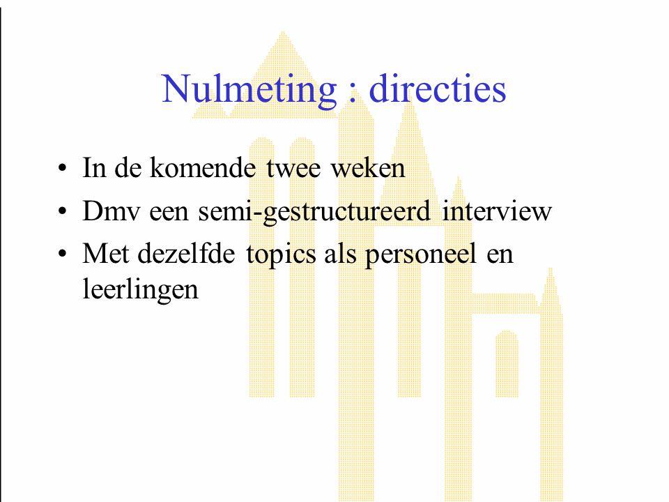 Nulmeting : directies In de komende twee weken