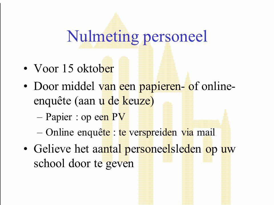 Nulmeting personeel Voor 15 oktober
