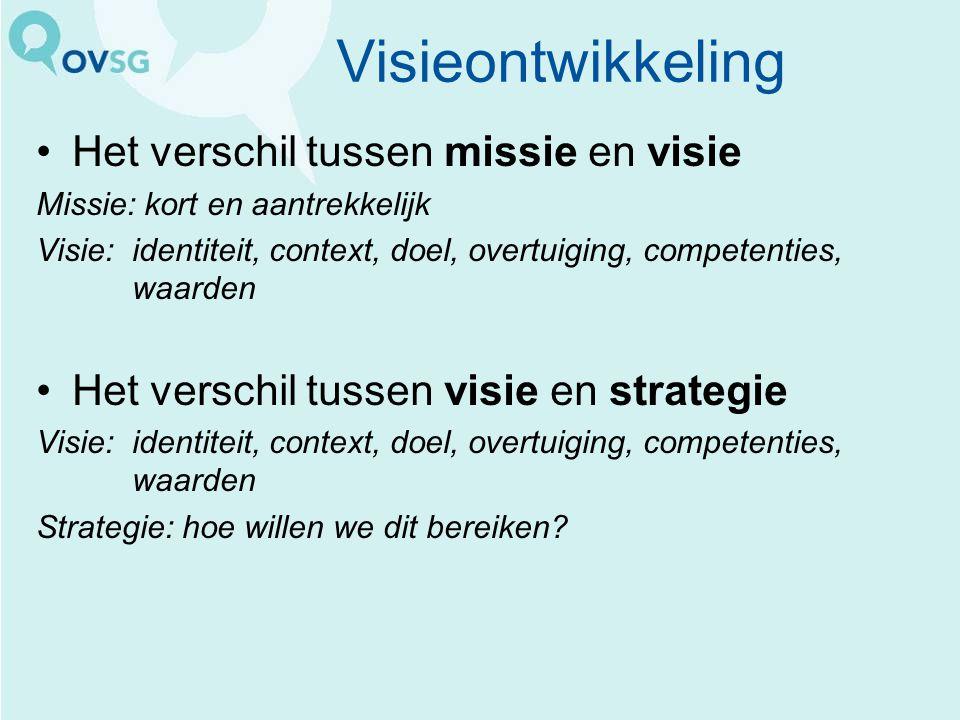 Visieontwikkeling Het verschil tussen missie en visie