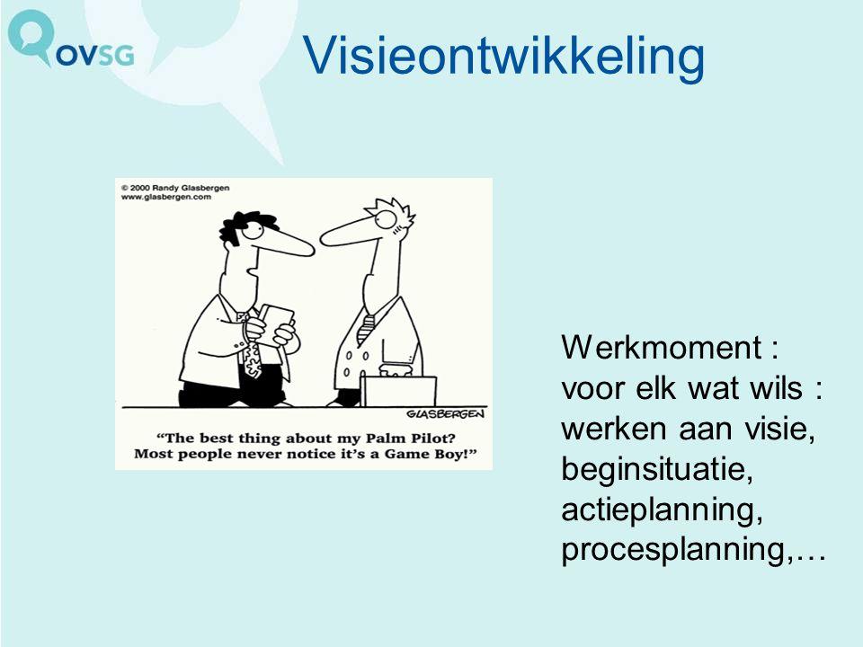 Visieontwikkeling Werkmoment : voor elk wat wils : werken aan visie, beginsituatie, actieplanning, procesplanning,…