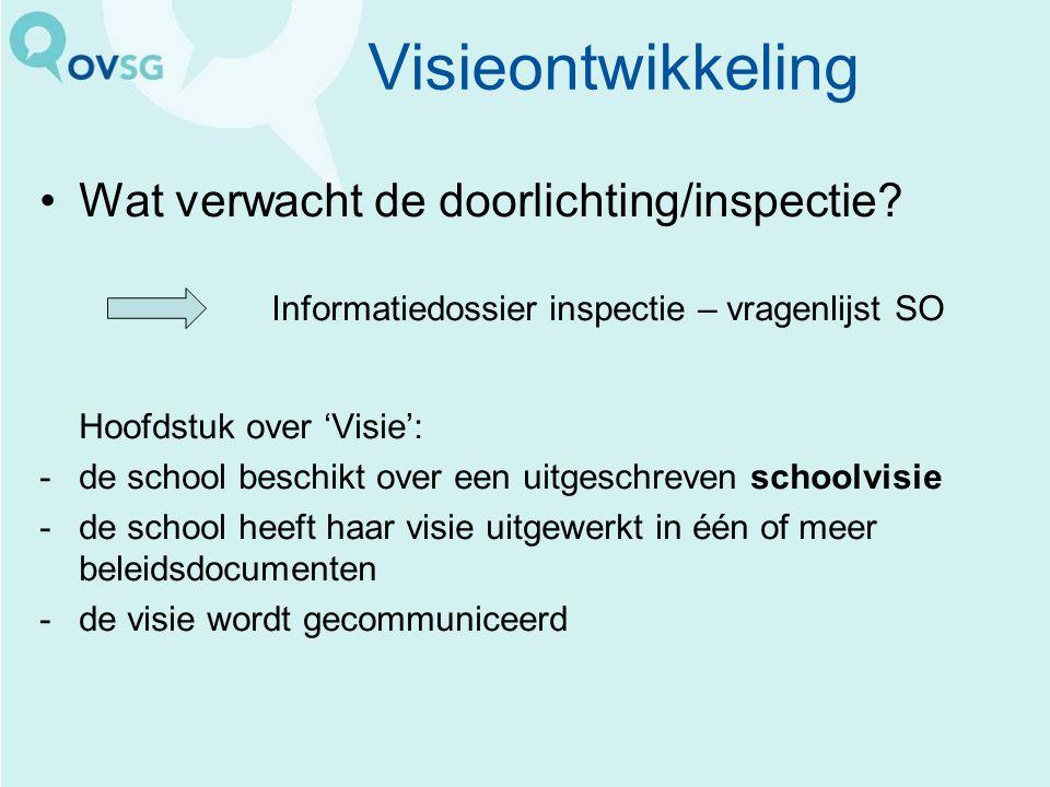 Visieontwikkeling Wat verwacht de doorlichting/inspectie