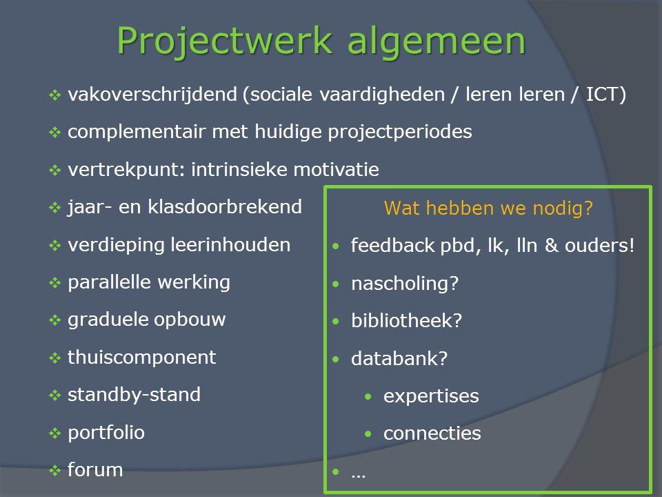 Projectwerk algemeen vakoverschrijdend (sociale vaardigheden / leren leren / ICT) complementair met huidige projectperiodes.