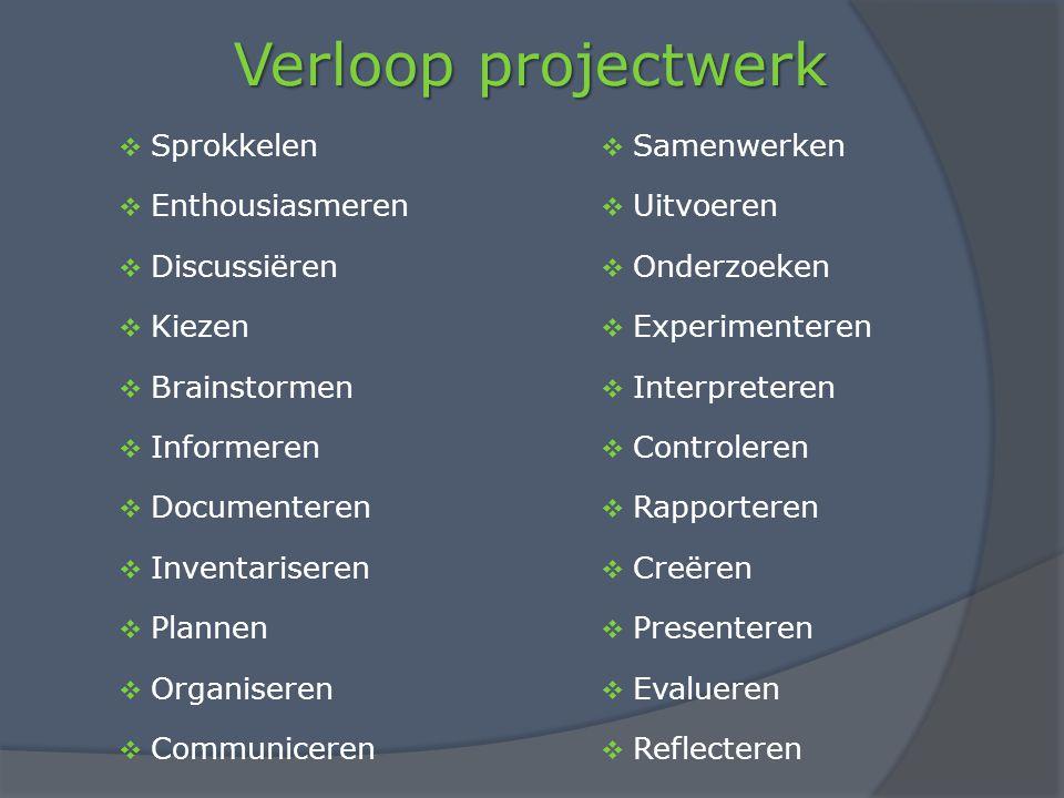 Verloop projectwerk Sprokkelen Samenwerken Enthousiasmeren Uitvoeren