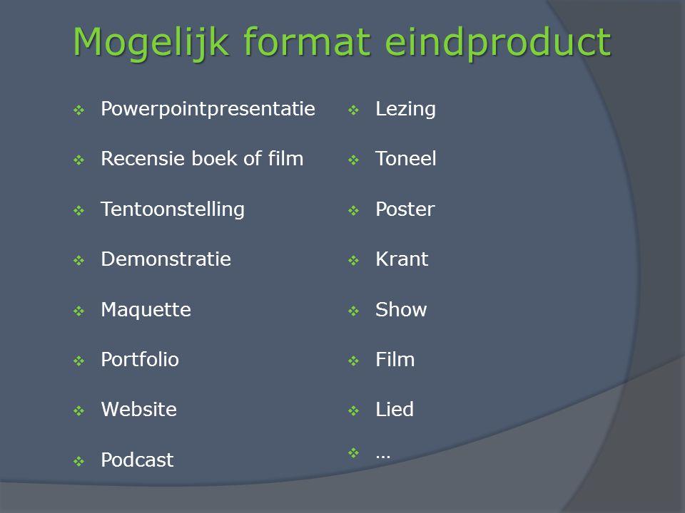 Mogelijk format eindproduct