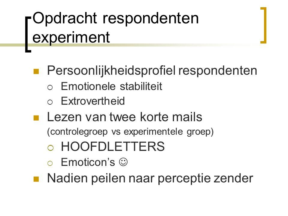 Opdracht respondenten experiment