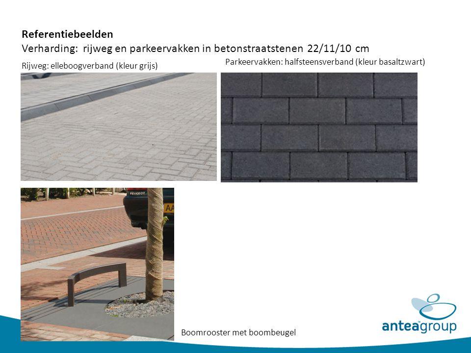 Verharding: rijweg en parkeervakken in betonstraatstenen 22/11/10 cm