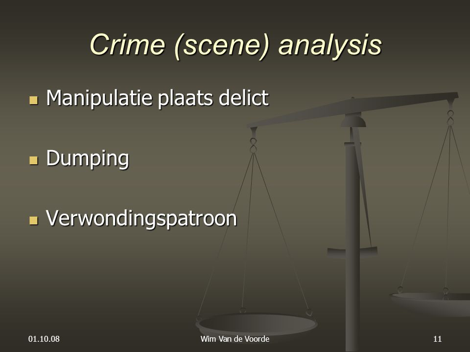 Crime (scene) analysis