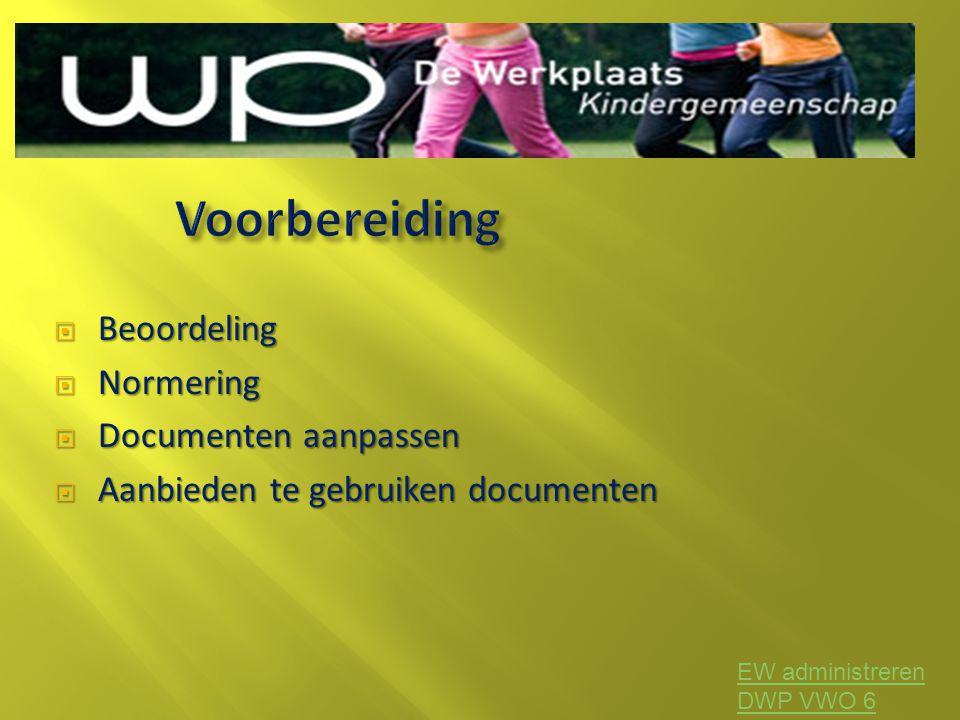 Voorbereiding Beoordeling Normering Documenten aanpassen