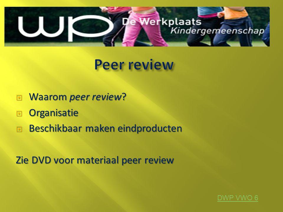 Peer review Waarom peer review Organisatie