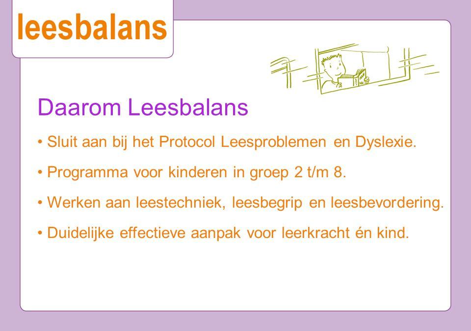 Daarom Leesbalans • Sluit aan bij het Protocol Leesproblemen en Dyslexie. • Programma voor kinderen in groep 2 t/m 8.