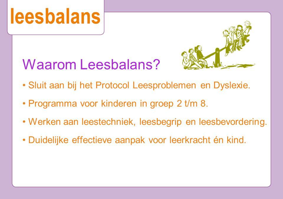 Waarom Leesbalans • Sluit aan bij het Protocol Leesproblemen en Dyslexie. • Programma voor kinderen in groep 2 t/m 8.