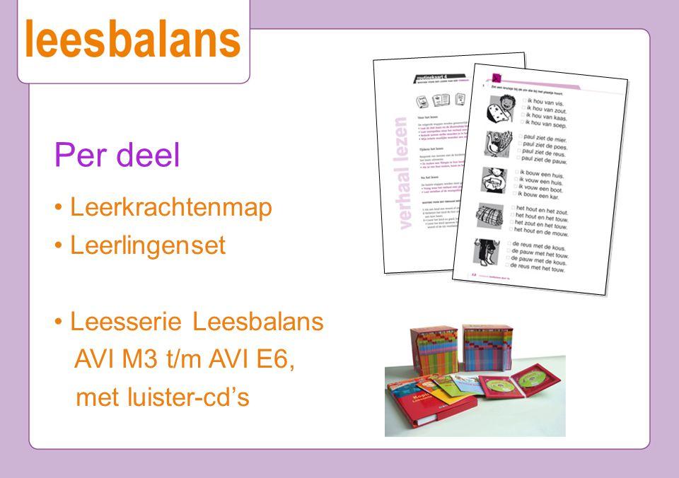Per deel • Leerkrachtenmap • Leerlingenset • Leesserie Leesbalans