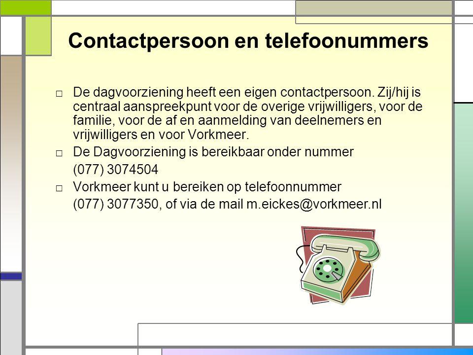 Contactpersoon en telefoonummers