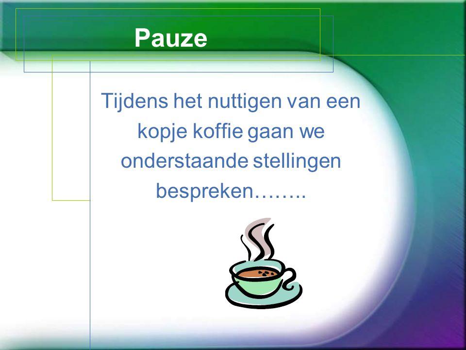 Pauze Tijdens het nuttigen van een kopje koffie gaan we