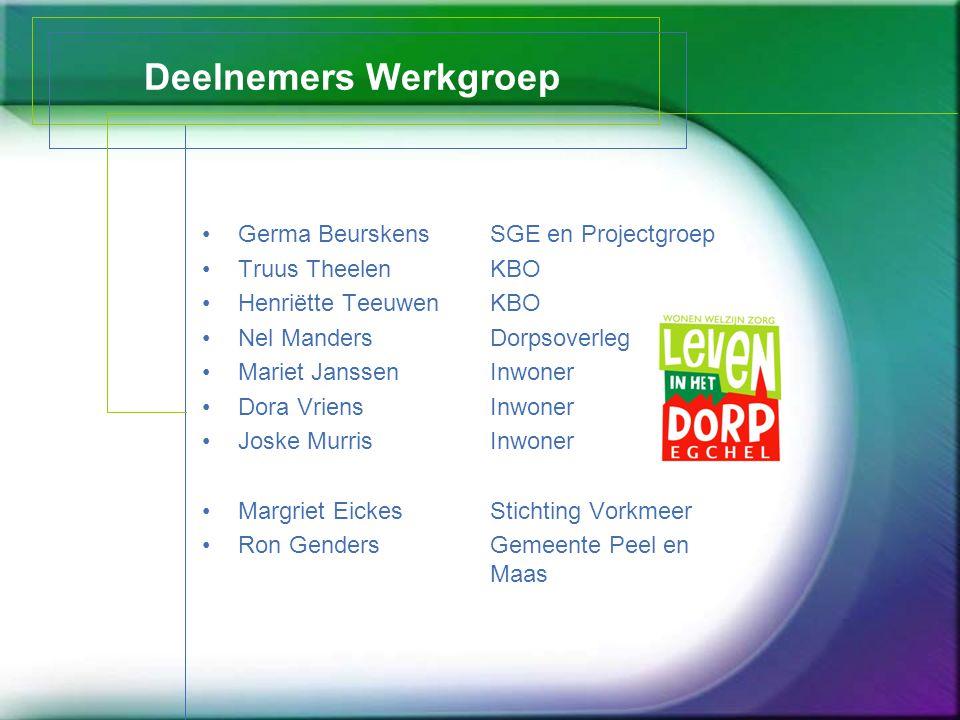 Deelnemers Werkgroep Germa Beurskens SGE en Projectgroep