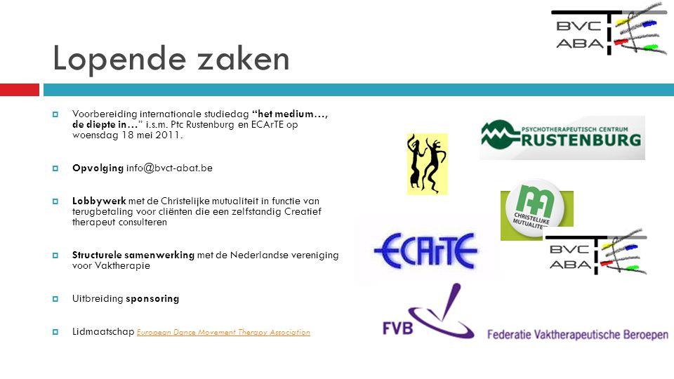 Lopende zaken Voorbereiding internationale studiedag het medium…, de diepte in… i.s.m. Ptc Rustenburg en ECArTE op woensdag 18 mei 2011.