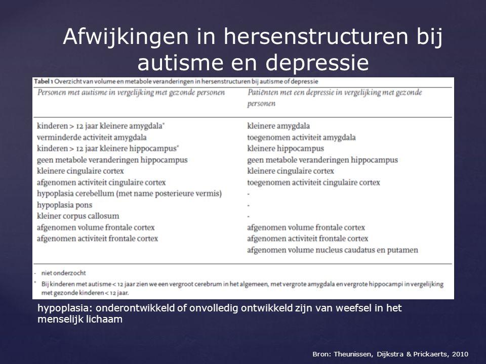 Afwijkingen in hersenstructuren bij autisme en depressie