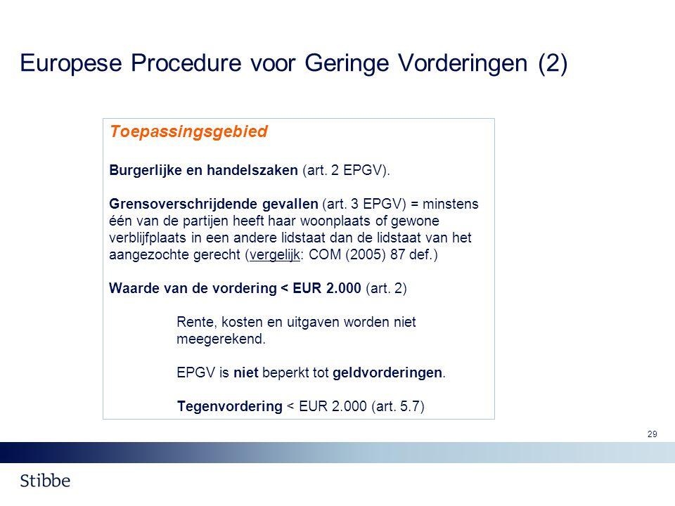 Europese Procedure voor Geringe Vorderingen (2)