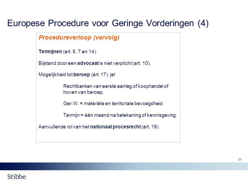 Europese Procedure voor Geringe Vorderingen (4)