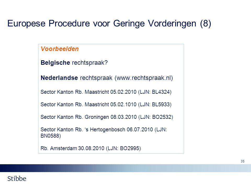 Europese Procedure voor Geringe Vorderingen (8)