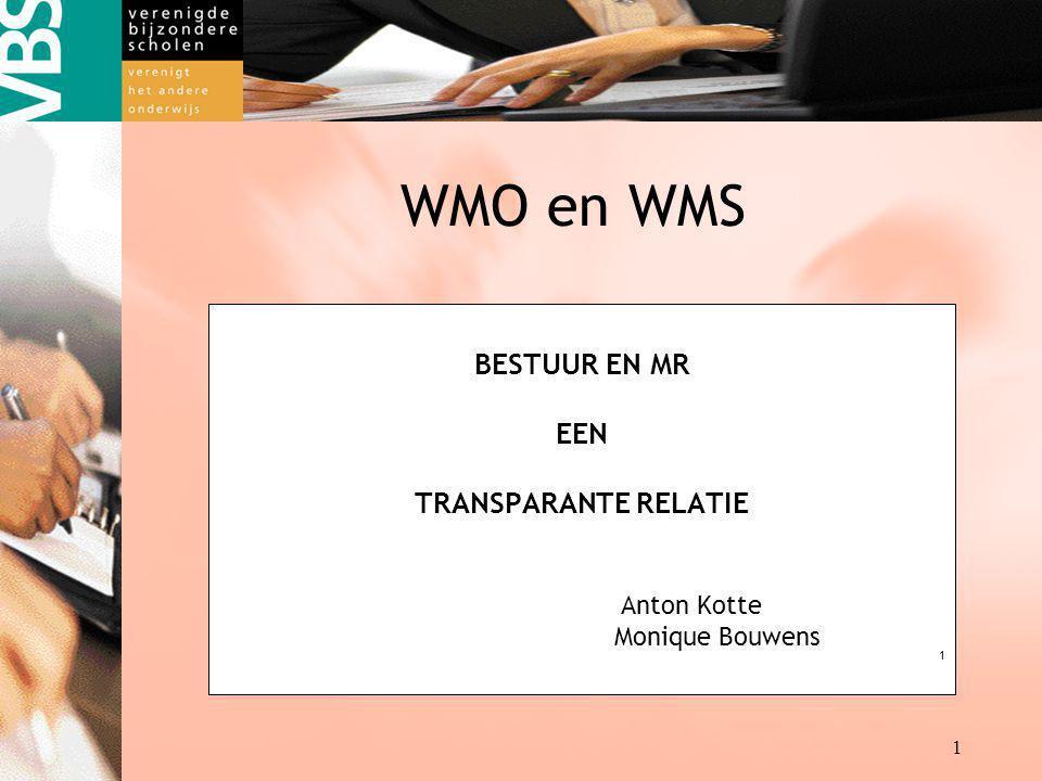 BESTUUR EN MR EEN TRANSPARANTE RELATIE Anton Kotte Monique Bouwens 1