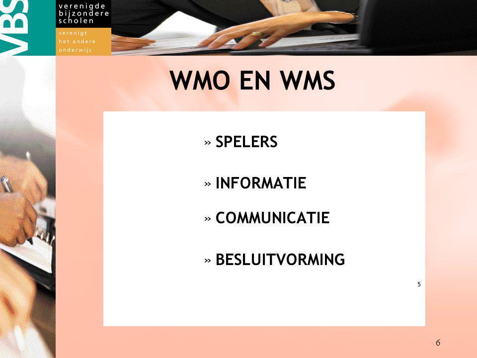 WMO EN WMS SPELERS INFORMATIE COMMUNICATIE BESLUITVORMING 5
