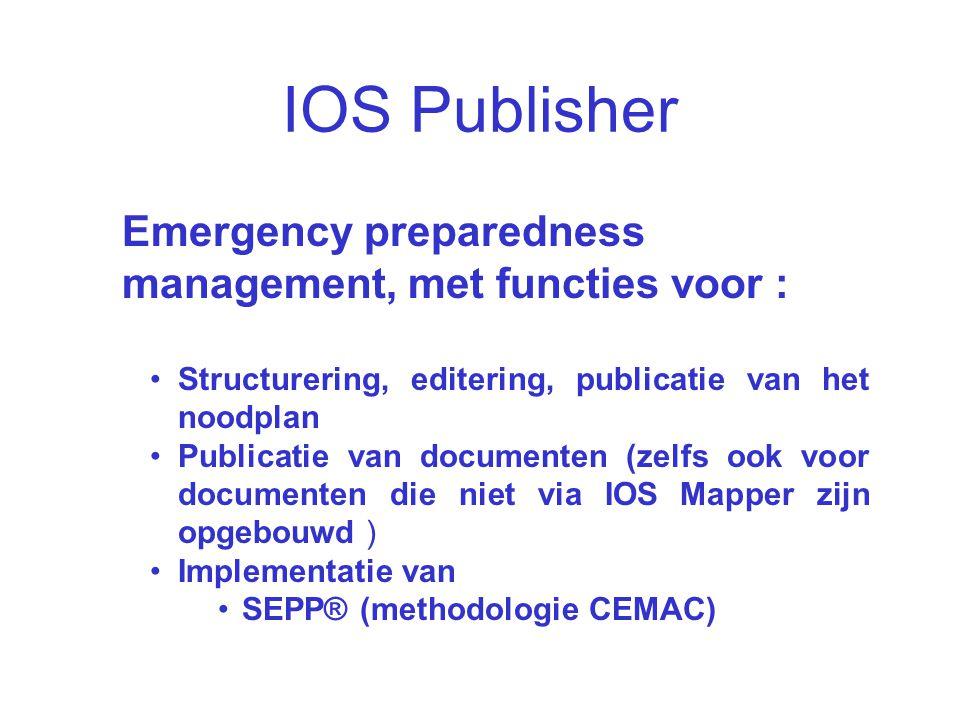IOS Publisher Emergency preparedness management, met functies voor :