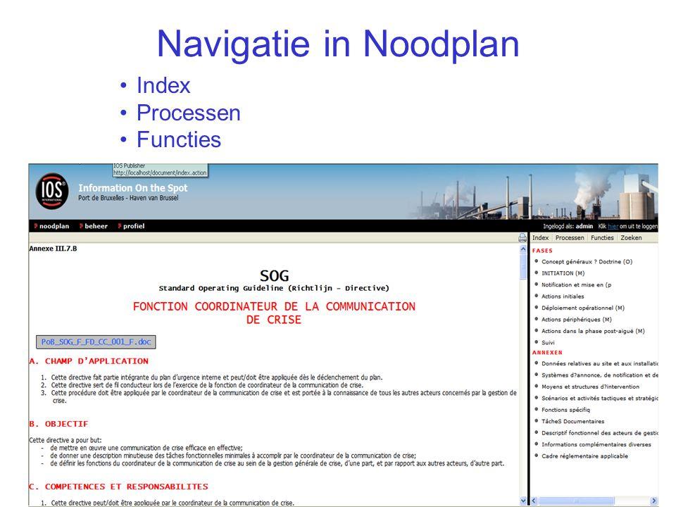 Navigatie in Noodplan Index Processen Functies IOS Presentatie 40/