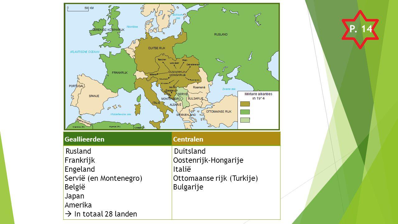 P. 14 Geallieerden Centralen Frankrijk Engeland Servië (en Montenegro)