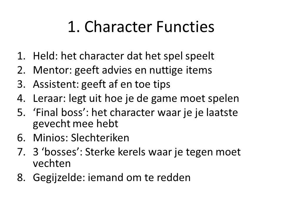 1. Character Functies Held: het character dat het spel speelt