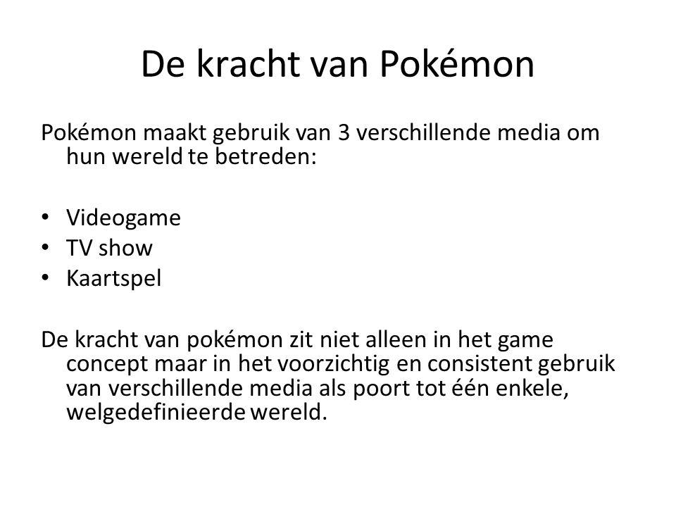 De kracht van Pokémon Pokémon maakt gebruik van 3 verschillende media om hun wereld te betreden: Videogame.