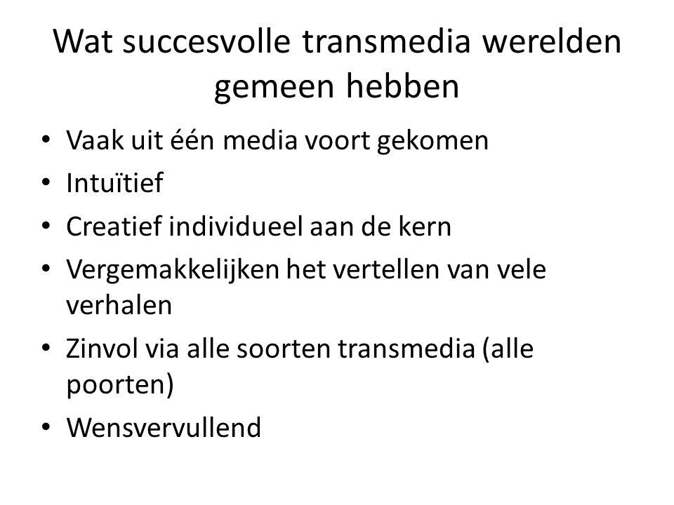 Wat succesvolle transmedia werelden gemeen hebben