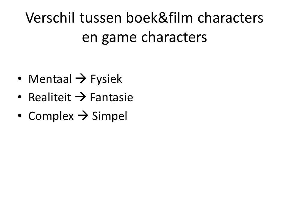 Verschil tussen boek&film characters en game characters