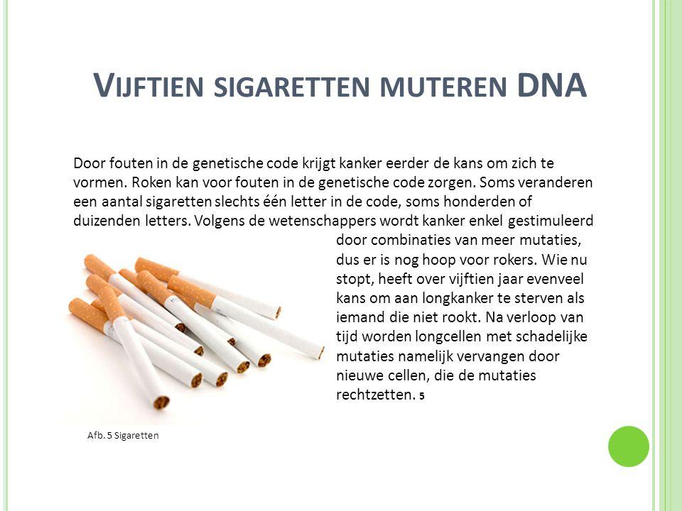 Vijftien sigaretten muteren DNA