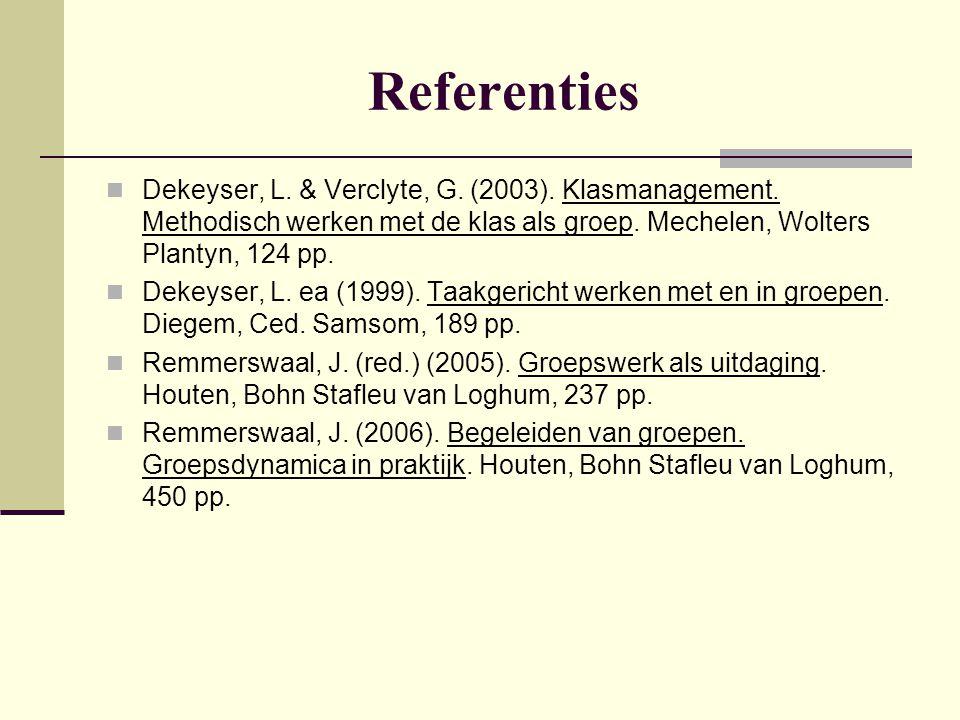 Referenties Dekeyser, L. & Verclyte, G. (2003). Klasmanagement. Methodisch werken met de klas als groep. Mechelen, Wolters Plantyn, 124 pp.
