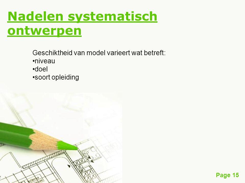 Nadelen systematisch ontwerpen