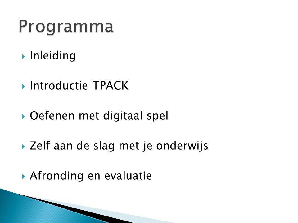 Programma Inleiding Introductie TPACK Oefenen met digitaal spel