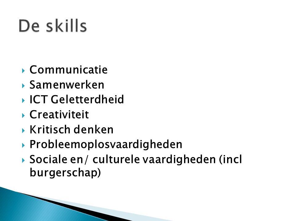 De skills Communicatie Samenwerken ICT Geletterdheid Creativiteit