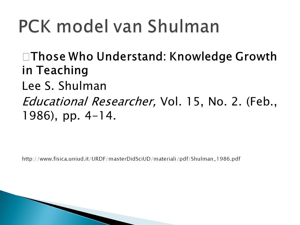 PCK model van Shulman Lee S. Shulman