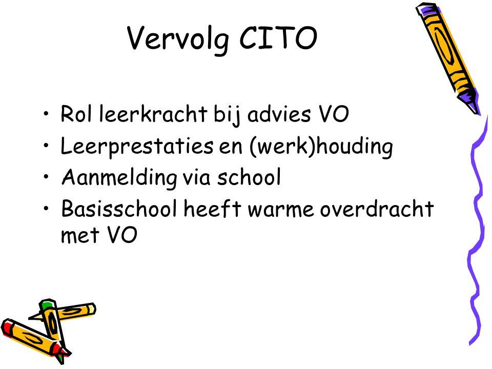 Vervolg CITO Rol leerkracht bij advies VO