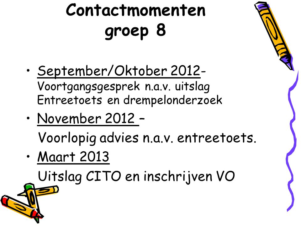 Contactmomenten groep 8