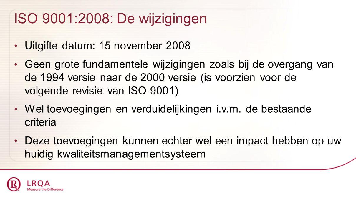 ISO 9001:2008: De wijzigingen Uitgifte datum: 15 november 2008