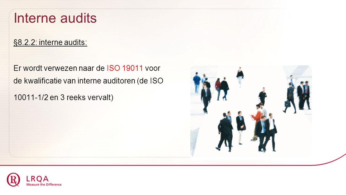 Interne audits §8.2.2: interne audits: